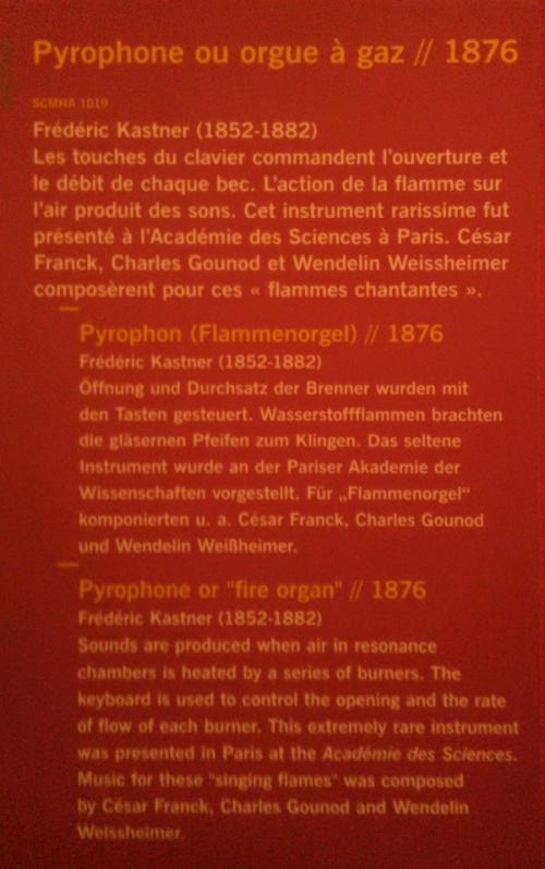 Flammenorgel/Pyrophon, Musée Historique, Straßburg